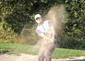 Ryan Williams in greenside bunker