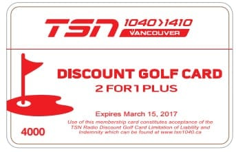 TSN Radio Vancouver BC Discount Golf Card Supporting VGT Golfers!