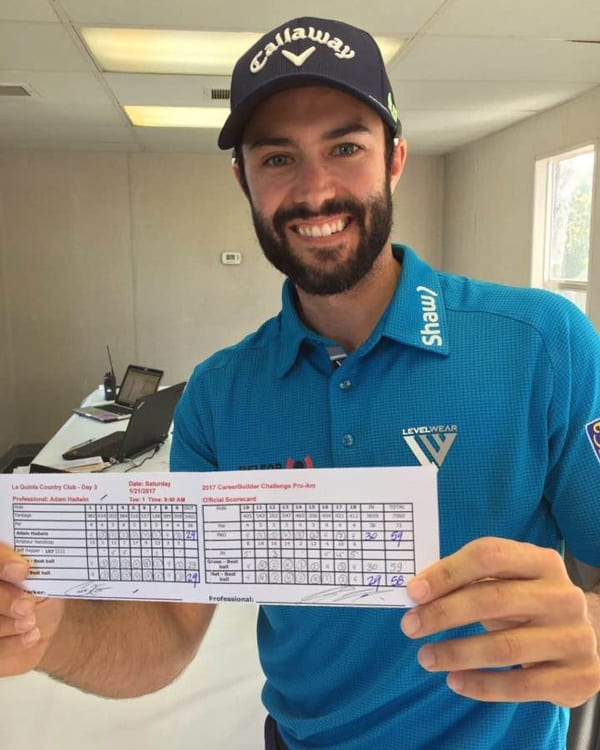 VGT's Alumni Adam Hadwin Shoots Record Setting 59 on the PGA TOUR