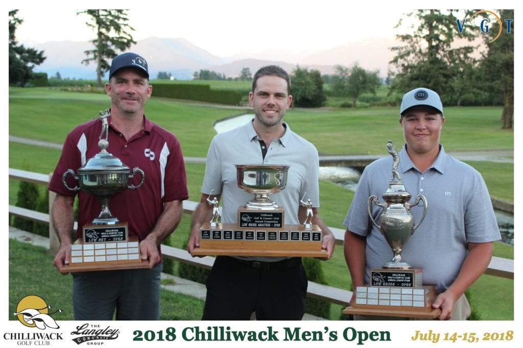 Overall Champion Kevin Spooner (-14), Overall Gross Amateur Winner Mitchell Thiessen (-1) and Overall Net Champion Paul McKinney (-6)