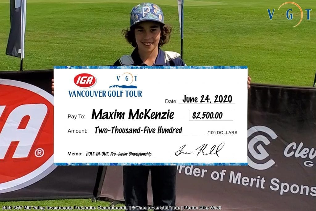 12-year-old Maxim McKenzie; $2500 hole-in-one cheque on the 13th hole